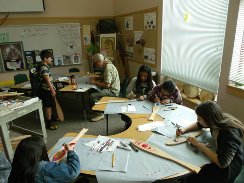 an entire classroom working on decorating paddles