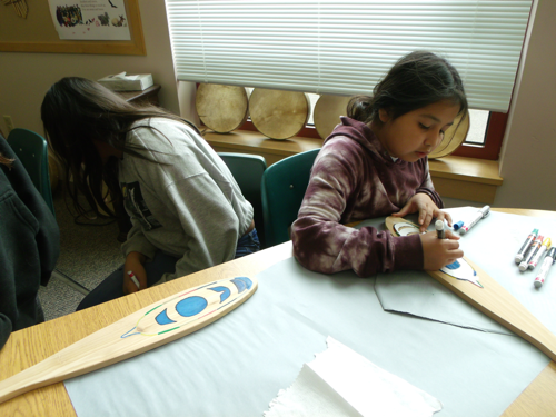 using a template to create a design on a paddle
