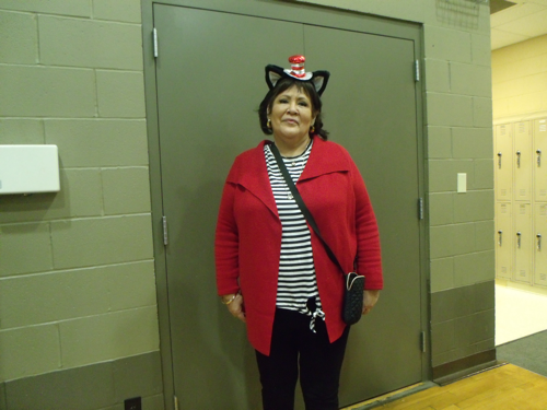 Mrs. Lovin in her little Cat in the Hat hat