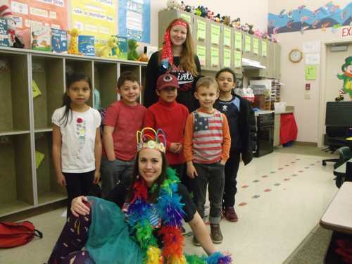 students and adults on Seuss day
