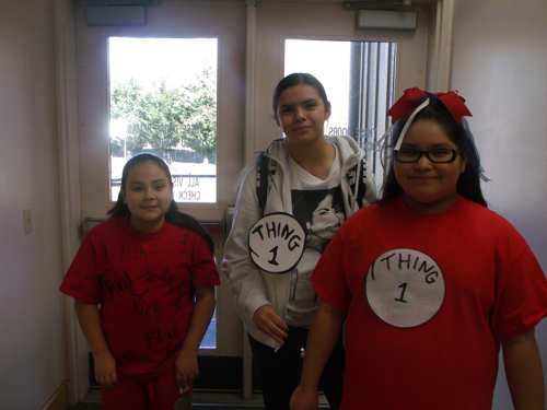 Students dressed up for Seuss day