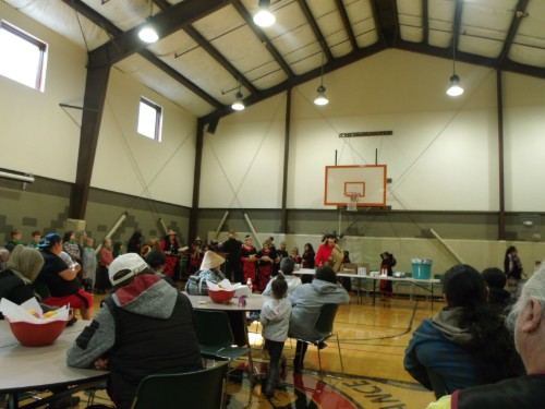 Salmon ceremony gathering in the gym