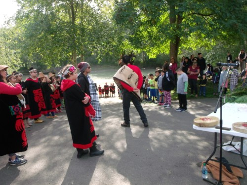 students and elders gather for the salmon ceremony