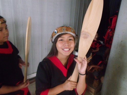 happy student with paddle