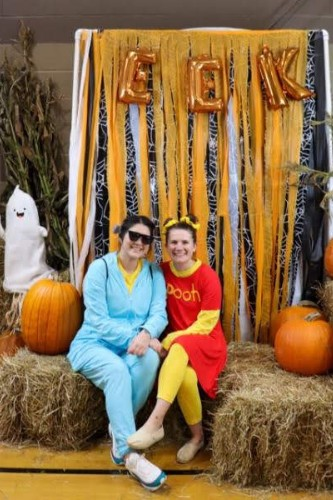 teachers in costume at harvest festival