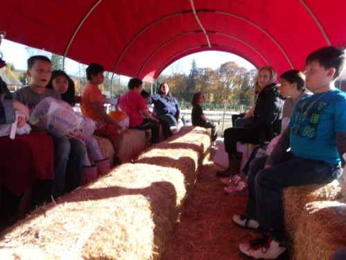 students riding the wagon at the farm
