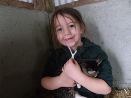 One kindergartner cuddling a kitten