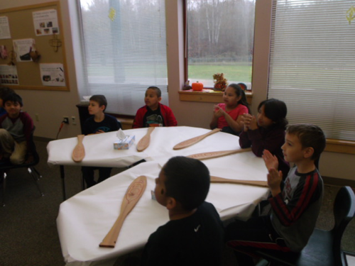 Students creating Native American crafts