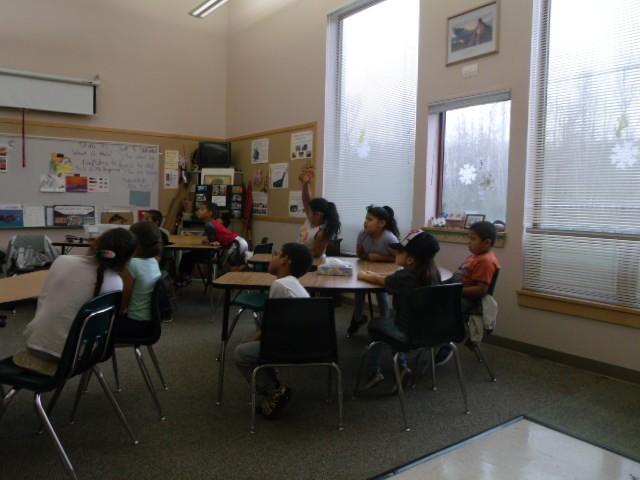 students listening to artist