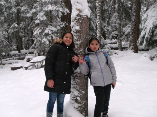 5th and 6th grade snowshoeing field trip
